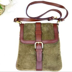 COLDWATER CREEK Olive Green Corduroy Crossbody Bag